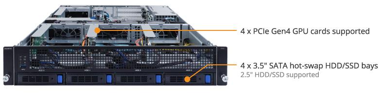 G242 Z11 ProductOverview 01 1 - Gigabyte nâng cấp máy chủ chạy 4 GPU G242 lên chuẩn PCIe 4.0 đáp ứng cho các dòng VGA mới nhất hiện nay