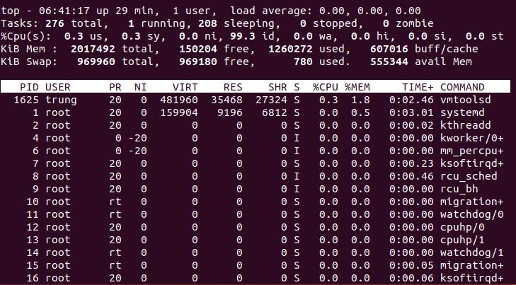 top - Đa nhiệm trong Linux. 1 số câu lệnh để quản lý chương trình